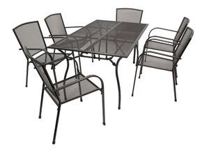 DEGAMO Gartenset Sitzgruppe Gartenmöbel Garnitur CLASSIC 7-teilig, Streckmetall anthrazit (6x Stapelsessel + 1x Tisch 90x150cm)