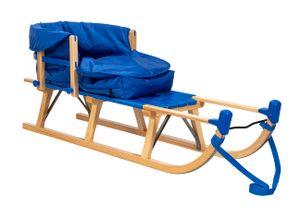 Original IMPAG® Davos-Schlitten mit Gurtsitz Holz mit Lehne und Fußsack, Blau 125 cm