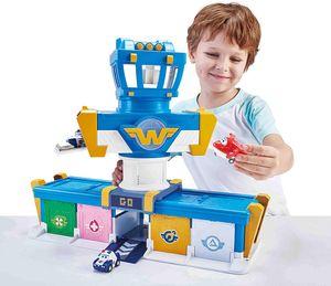 Super Wings Mission Teams Flughafen Spielzeug Set mit Transforming Jett Figur, Licht & Sound für Kinder ab 3 Jahren