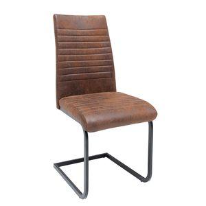 Industrial Freischwinger Stuhl APARTMENT antik braun Gestell matt schwarz