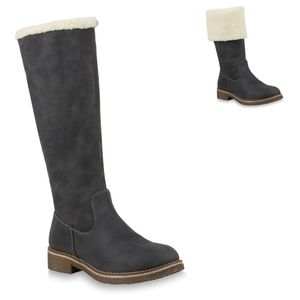 Mytrendshoe Damen Winterstiefel Warm Gefütterte Stiefel Winter Boots Kunstpelz 820371, Farbe: Grau, Größe: 37