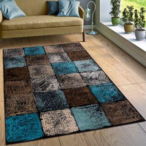 Designer Teppich Wohnzimmer Ausgefallene Farbkombination Karo Türkis Braun Creme, Grösse:120x170 cm