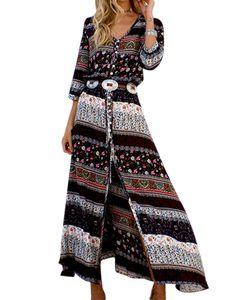 Langes Kleid zum Abnehmen mit böhmischem Druck für Frauen am Strand,Farbe: schwarz,Größe:XXL