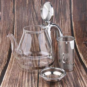 Teekanne aus Glas mit Sieb und Deckel, 1100ml klare Glas-Teekanne mit Edelstahl-Infuser