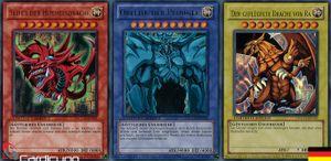 Slifer, Obelisk und Ra - Götterkarten Set! - YGLD-DE - Ultra Rare - Yu-Gi-Oh! - Deutsch - Limitierte Auflage - Mit Toploader - Cardicuno