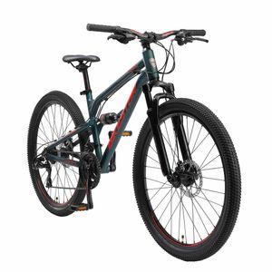 BIKESTAR Vollgefedert Aluminium Mountainbike 26 Zoll, 21 Gang Shimano Schaltung mit Scheibenbremse   16 Zoll Rahmen Fully MTB Erwachsenen- und Jugendfahrrad   Grün