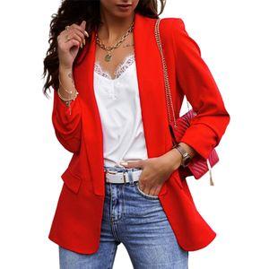 Damen Frühjahr, Herbst und Winter Revers einfarbig langärmelige OL Pendler Temperament professionelle schlanke Mantel kleine Anzugjacke,Rot M