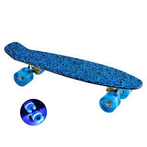 Skateboard Mini Cruiser Retro-Board 55x14cm mit LED Leuchtrollen blau