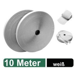 Klettband selbstklebend extra stark - 10 Meter lang, 2cm breit - für Fliegengitter, Klett-Hakenband, Flauschband, Klettverschluss Band, wetterfest, weiß / weiss