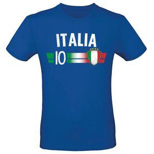 EM Fan Shirt Deutschland Europameisterschaft 100% Baumwolle T-Shirt Rundhals Fanartikel Alle Größen Herren Damen Fan-Shirt , Größe wählen:L, Land wählen:Italien