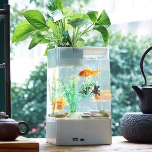 LED Aquarium mini Goldfisch Schüssel Desktop Micro Landscape Aquarium mit Filtersystem (Weiß)