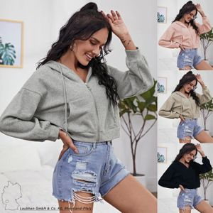 Damen Kurzes Sweat Shirt Stretch Cropped Pullover Langarm Top mit Kapuze Zipper Hoodie, Farben:Schwarz, Größe:XL