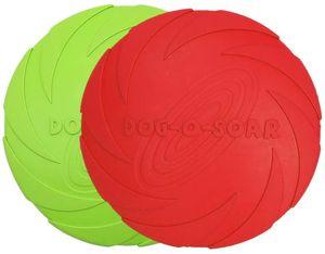 Hundefrisbee, 2 Stück 18cm Hunde-Frisbee aus Natürlichem Kautschuk für Land und Wasser (Grün + Rot)