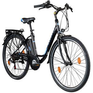 Zündapp Z505 28 Zoll E-Bike Citybike Pedelec 700c Tiefeinsteiger Damenfahrrad Heckantrieb, Farbe:schwarz/blau, Rahmengröße:48 cm