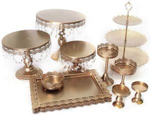 12× Tortenständer Gold 3 Etagen Kuchenständer aus Hochwertigem Eisen Runde Cupcake Standfuß für Obst Geburtstag Hochzeitsfeier Kristallkuchenständer Hochzeitstorte Ständer Halter
