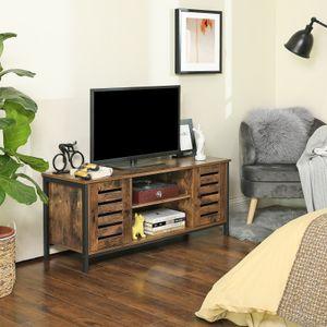 VASAGLE Lowboard mit 2 Türen und 2 Regale | Fernsehtisch TV-Schrank | Industrie-Design Vintage dunkelbraun LTV43BX