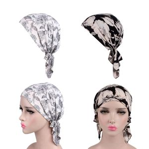 2pcs Frauen Turban Piraten Kappe Kopfbedeckung Sommer Hut Chemo Headwear Muslim Kopftuch Mütze Beanie