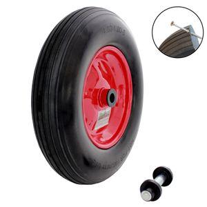 Schubkarrenrad  Vollgummi Pannensicher 4.80/4.00-8 mit Achse PolyurethanStahlfelge schwarz Rot