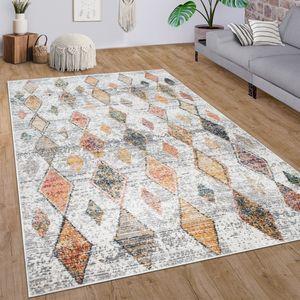 Teppich Wohnzimmer Kurzflor Modernes Ethno Boho 3D Muster Mit Rauten Creme Bunt, Grösse:80x300 cm