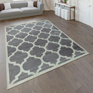 Designer Teppich Marokkanisches Muster Kurzflorteppich Modern Trend Grau Weiß, Grösse:160x220 cm