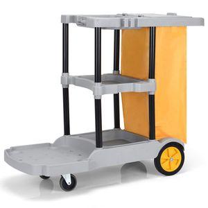 GOPLUS Reinigungswagen mit 3 Ablagen, Putzwagen mit Abfallsack, Wischwagen Fahrwagen Systemwagen