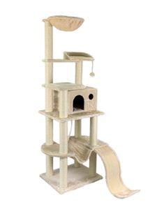 Katzen-Kratzbaum XXL beige - FABIO - mit gepolsterter Liegefläche, Liegemulde/Kuhle, großer Wohnhöhle, Hängematte, Sisal-Kratzfläche/Kratzbrett, Spielseil, Spielballmaus