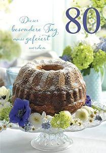 DeCoArt... SET 1  Glückwunschkarte 80 Geburtstag Dieser besondere Tag muss gefeiert werden mit Umschlag 11,5x16,6 cm und eine Wunderkerze Herz gold