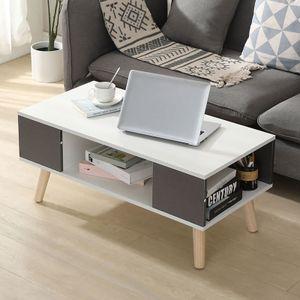Couchtisch Beistelltisch Lowboard skandinavischen Beistelltisch  90*45*39cm Fernsehtisch weiß+grau,