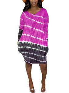 Langärmliges, gestreiftes Hemdkleid mit Farbverlauf und Farbverlauf für Damen Hosenträgerrock,Farbe: Rosenrot,Größe:M