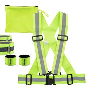6in1 Set Reflektor Sicherheitsweste + Reflektorbänder S/M