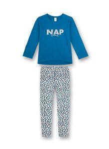 Sanetta Mädchen Schlafanzug Set - lang, Kinder, 2-tlg. Leoparden Muster, 128-176 Blau 128 (6-7 Jahre)