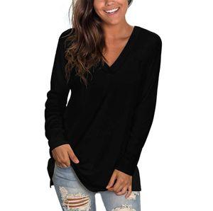 Damenfarbe Baumwolle Einfarbig Langärmlige Pullover mit V-Ausschnitt CCJ201110759 Größe:M,Farbe:Schwarz