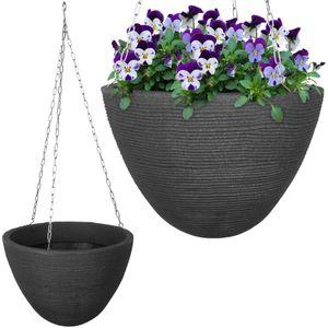 Blumenampel 33x25cm grau Blumentopf Hängeschale Ampelhalter Hängeampel Pflanztopf Blumenampelhalter Hängetopf