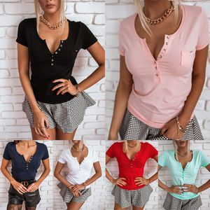 Einfarbiges Damenhemd Mit V-Ausschnitt Und Kurzen Ärmeln Und Lässigem Sommeroberteil,Farbe: Schwarz,Größe:M