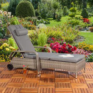Gartenliege Sonnenliege Liegestuhl Loungeliege Polyrattan Rattan Liege Grau Rattanmöbel Rollliege Kissen Poolliege Entspannung