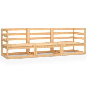 vidaXL 3-Sitzer-Gartensofa Kiefer Massivholz