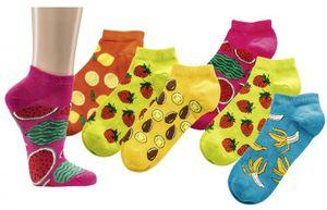3 Paar bunte Früchte Sneaker für Damen und Teenager aus Baumwolle Sommer Socken Gr. 39/42