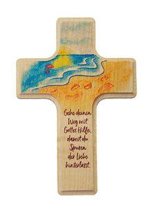 großes Holzkreuz für Kinder zur Geburt oder Taufe, Spuren (10 x 16 cm)