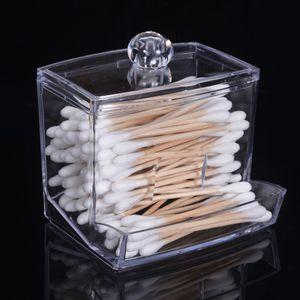 Neue Acryl Wattestäbchen Aufbewahrungsbox Halter Transparent Make-Up Fall Kosmetikbehälter[Transparent]