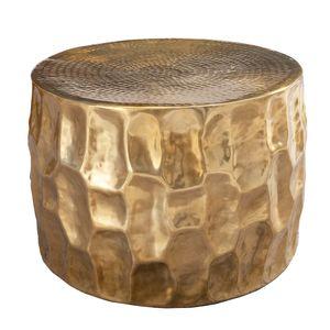 Handgefertigter Couchtisch ORGANIC ORIENT 53cm gold Hammerschlag Design Beistelltisch Sofatisch