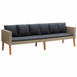 anlund 3-Sitzer-Gartensofa mit Auflagen Poly Rattan Beige