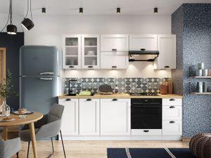 Mirjan24 Küche Adele I 240, Stilvoll Küchenmöbel vom Hersteller, Küchenzeile mit Arbeitsplatte (Weiß / Arlingrton Eiche)