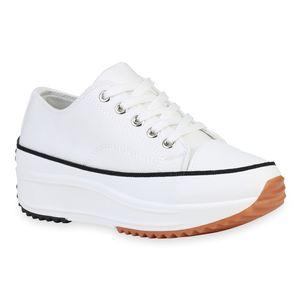 Giralin Damen Plateau Sneaker Keilabsatz Schnürer Profil-Sohle Schuhe 836214, Farbe: Weiß, Größe: 38