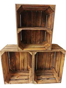 3er Set Obstkisten Weinkisten Vintage Geflammt 50 x 40 x 30cm Boden Kurz