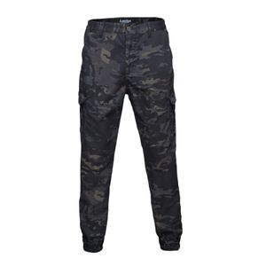 Männer Streetwear Casual Hip Hop Camouflage Hose Taktische Amy Hosen, Elastischen Bündchen Black_L