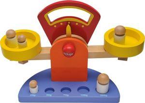 Balancewaage aus Holz mit 5 Gewichten