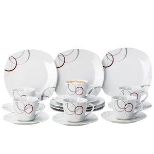 Kaffeeservice Palazzo 18tlg. - weiß mit Nachbildung-Kreisen in grau und dunkelrot - für 6 Personen