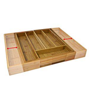relaxdays Besteckkasten Bambus 45cm ausziehbar, Maße zusammengeschoben H x B x T: ca. 5 x 29 x 34 cm, Maße ausgezogen H x B x T: ca. 5 x 48 x 34 cm