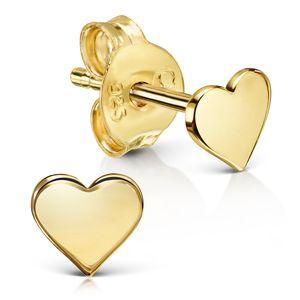 MATERIA Herz Ohrstecker gold klein flach aus 925 Silber vergoldet für Mädchen Damen mit Geschenk-Etui SO-457