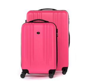 FERGÉ 2er Kofferset Handgepäck + 24' Marseille ABS Dure-Flex pink Trolley-Hartschalenkoffer Set 4 Rollen Kofferset 2-teilig Hartschale 55 cm